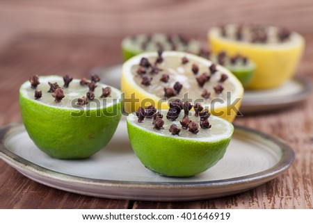 Lemon and limes with cloves, natural insect repellent. Shallow dof