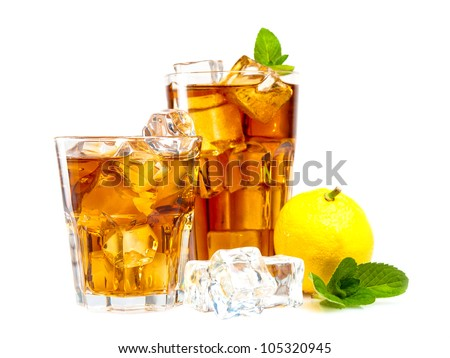 Lemon and mint ice tea isolated on white - stock photo