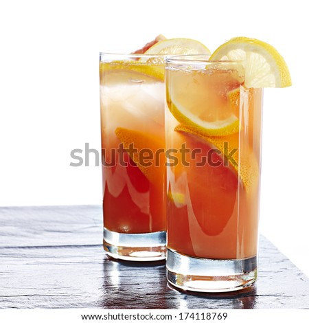 Lemon and passion fruit cocktail