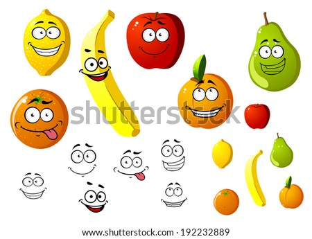 Lemon, apple, orange, banana, pear and peach fruits logo in cartoon style. Vector version also available in gallery - stock photo