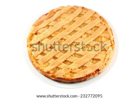 Lemon apple pie, tart, crostata, isolated on white - stock photo