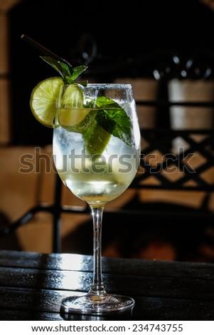 lemon cocktail drink - stock photo