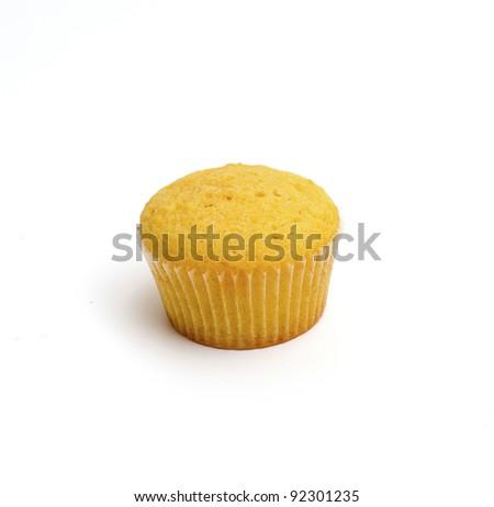 lemon cupcake isolated on white - stock photo