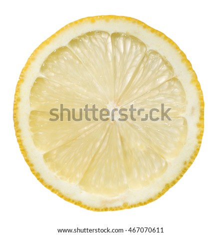 Lemon cut by its width isolated