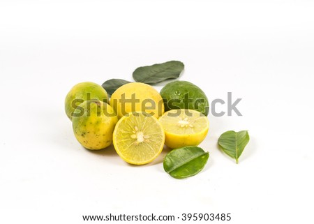 lemon cut leaves white background  - stock photo