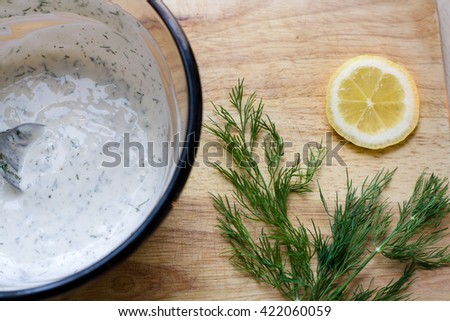 Lemon Dill Sprig and Mayonnaise - stock photo