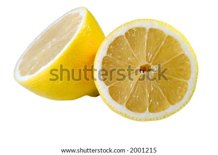 Lemon divided in two partes isolated on white background - stock photo