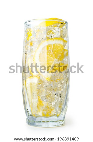 lemon drink with ice cubes isolated on white - stock photo