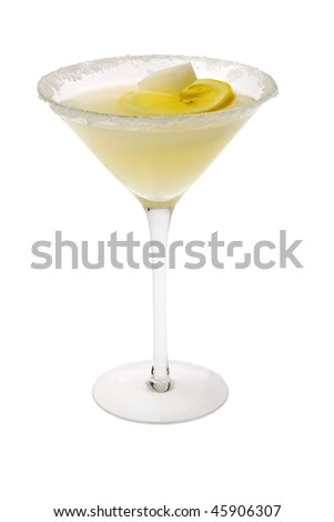 Lemon Drop mixed drink with lemon slice garnish and sugar cube on a white background - stock photo