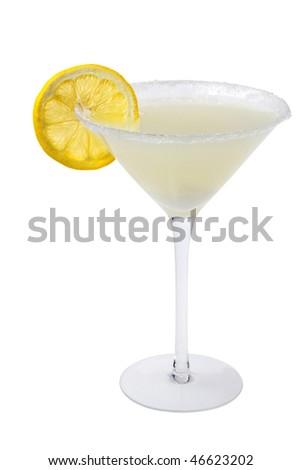 Lemon Drop mixed drink with lemon slice garnish on a white background - stock photo