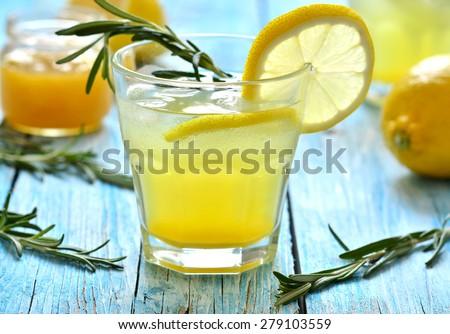 Lemon fizz in a glass. - stock photo