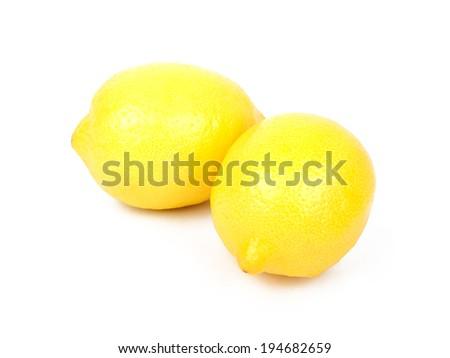 Lemon fruit isolated on white background - stock photo