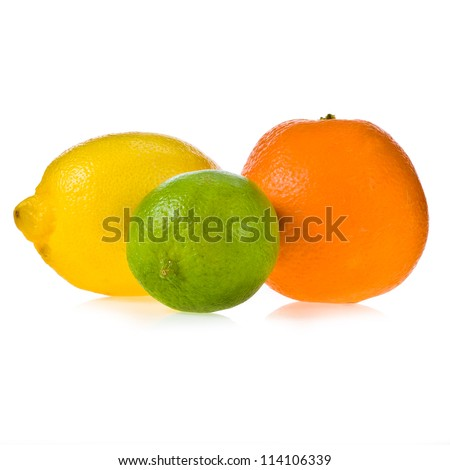 Lemon fruit, lime fruit, orange fruit isolated on white background . Mix of colorful citrus fruit on white background . - stock photo
