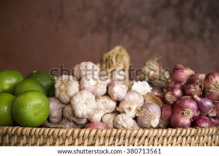 Lemon, Garlic and red onion - stock photo