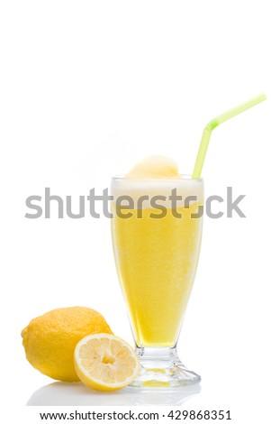 Lemon  Granita slush refreshment - stock photo