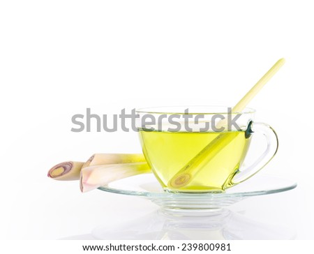 lemon grass tea solated on white, include vector path for remove background - stock photo