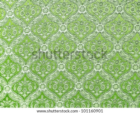 Lemon green seamless Thailand pattern on fabric - stock photo