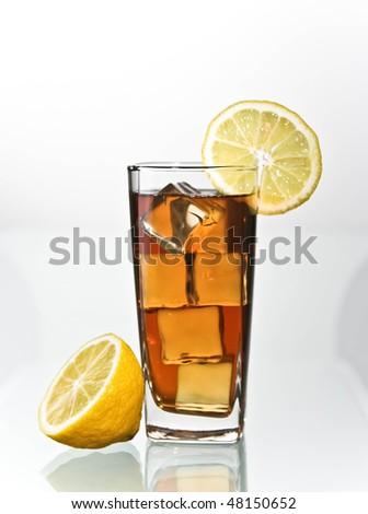 lemon ice tea in tall glass - stock photo