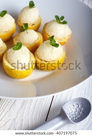 Lemon icecream served in half of lemon in white plate on white background. Ice creame scoop near it. - stock photo