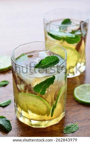 Lemon iced tea, vertical, selective focus  - stock photo