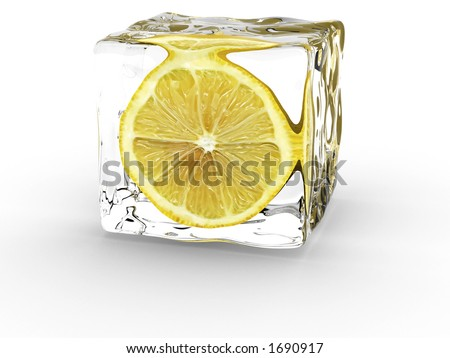 Lemon In Ice Cube - stock photo