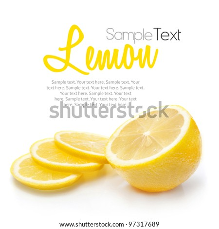 Lemon isolated on white with sample text - stock photo