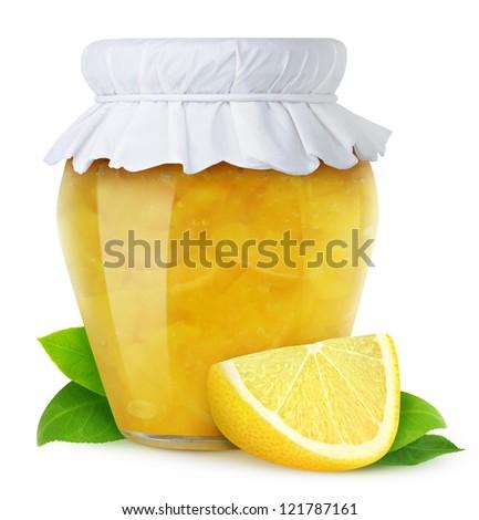 Lemon jam isolated on white - stock photo