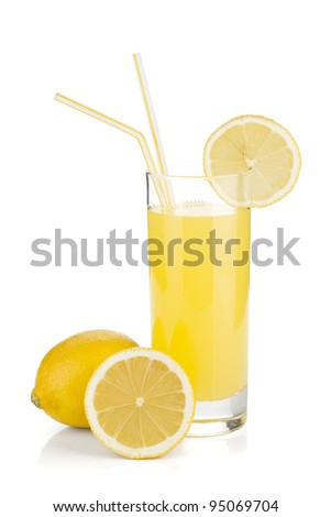 Lemon juice glass and fresh lemons. Isolated on white background