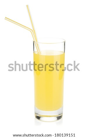 Lemon juice glass with two drinking straw. Isolated on white background - stock photo