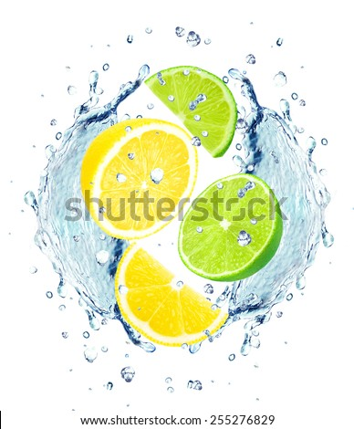 lemon, lime and water splash isolated on white