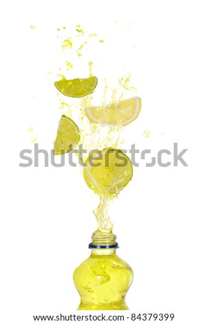 lemon lime drink splash - stock photo