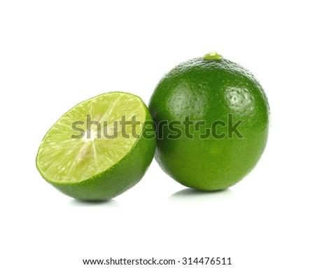 lemon, lime isolated on white - stock photo
