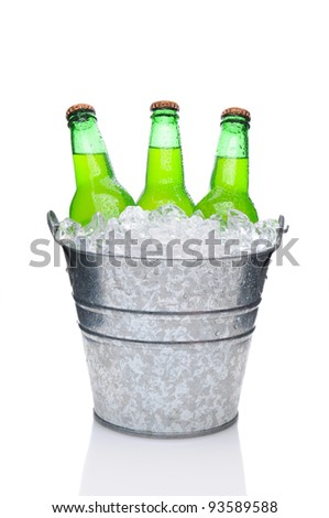 Lemon Lime Soda Bottles in a Bucket Filled with ice. Vertical Format over a white background with reflection - stock photo