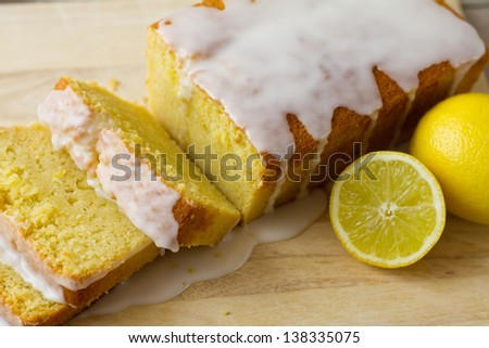Lemon Loaf Sliced Closeup - stock photo