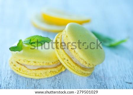 lemon macaroons - stock photo