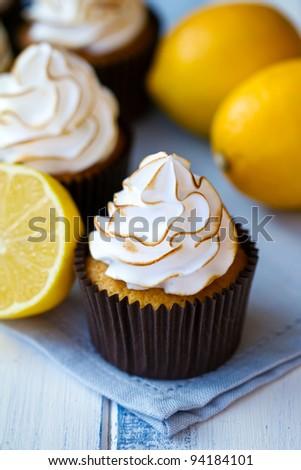 Lemon meringue cupcakes - stock photo