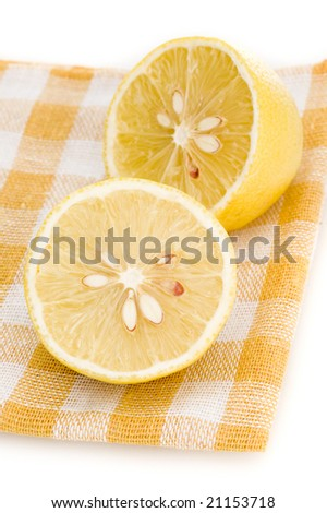lemon on placemat isolated