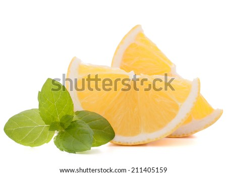 Lemon or citron citrus fruit slice isolated on white background cutout - stock photo