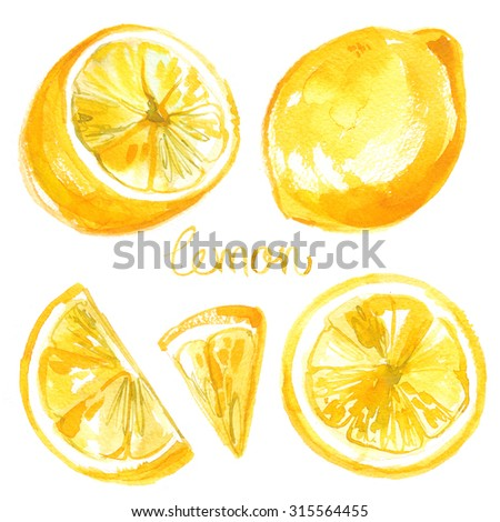 Lemon painted with watercolors on white background. Colored watercolor fruit, lemon banana yellow stains - stock photo