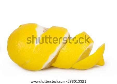 lemon peel isolated on white background - stock photo