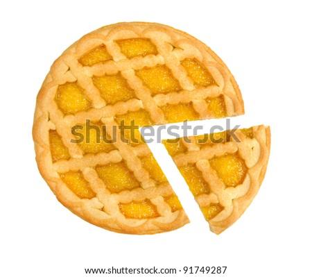 lemon pie isolated on a white background - stock photo