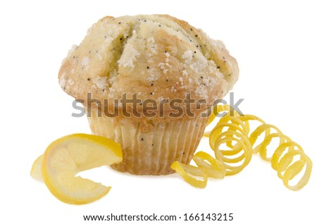 Lemon poppy seed muffin, isolated on white background. - stock photo
