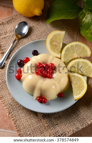 lemon pudding with currants in the saucer