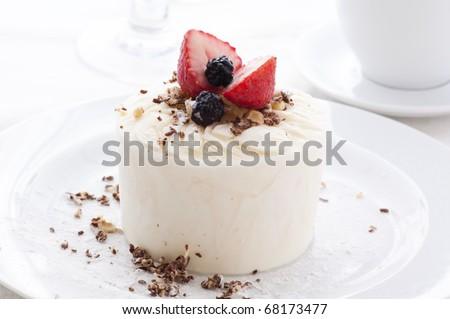 Lemon Sherbet with Fruits - stock photo