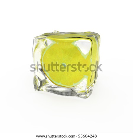 Lemon slice frozen in ice cube isolated on white background