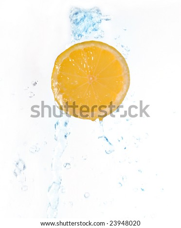 Lemon slice in water splash on the white background
