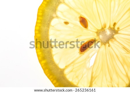 lemon slice isolated on a white background. Clipping Path - stock photo