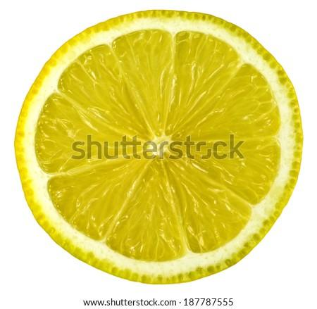 lemon slice isolated on white with clipping path close up - stock photo