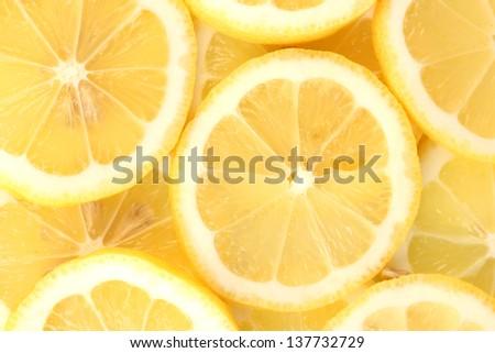 Lemon slices background - stock photo