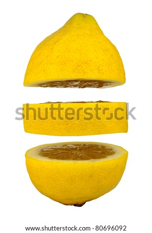 Lemon slices floating in mid air isolated on a white background - stock photo